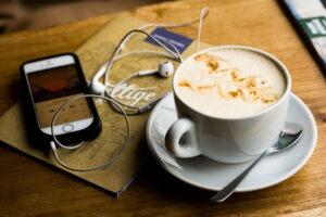 Audiobook, iPhone, coffee