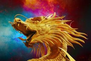 dragon, broncefigur, golden dragon