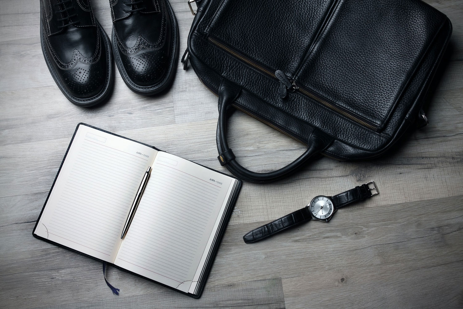 business, work space, note pad, watch, shoes